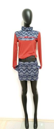 Gr.38, Designer Jersey Kleid in Ziegelrot und Blau, TOP!!!!