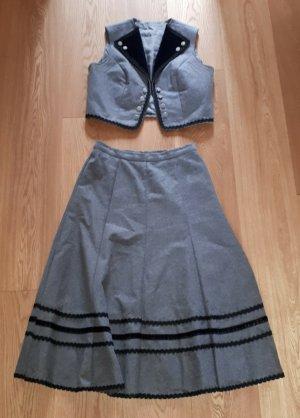 Falda folclórica gris-negro Lana
