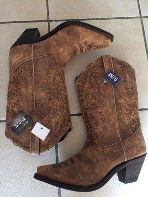 Botas estilo vaquero marrón claro-marrón Cuero