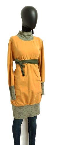 Sukienka z rękawem balonowym ochra-khaki Bawełna