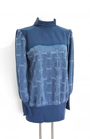 gr.44, Designer Pullover Minikleid, Rauchblau, Strick, TOP!!!