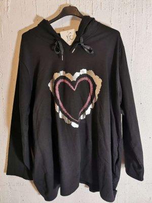 Gr. 48/50 - 56 Pullover in Schwarz mit Kapuze