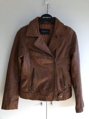 Kurtka typu biker brązowy-jasnobrązowy