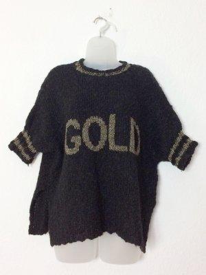 Grace 80´s 80er Pullover Vintage Alpaka Wolle schwarz und Gold Gr. XS