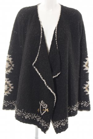 Grace Strick Cardigan schwarz-creme grafisches Muster Casual-Look