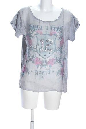 Grace T-Shirt hellgrau-pink Motivdruck Casual-Look
