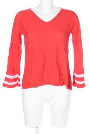 Grace V-Ausschnitt-Pullover rot-weiß Streifenmuster Casual-Look