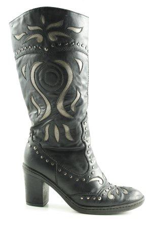 Graceland Botte gothique noir motif abstrait style d'affaires