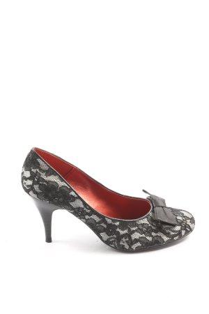 Graceland High Heels weiß-schwarz Webmuster Casual-Look