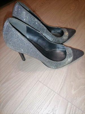 Graceland high heels silber grau Glitzer 37