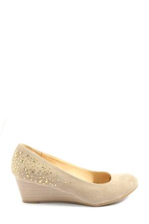 Graceland Escarpin compensé blanc cassé-doré style décontracté