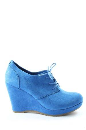 Graceland Bottine à talon compensé bleu style décontracté