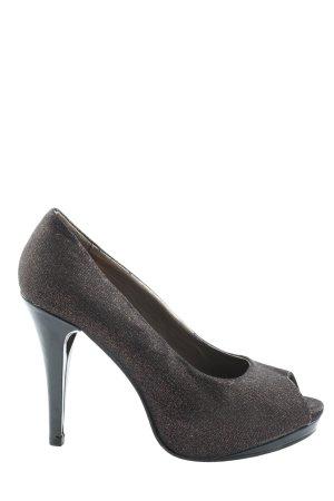 Graceland Peep Toe Pumps bronze-colored-black weave pattern elegant