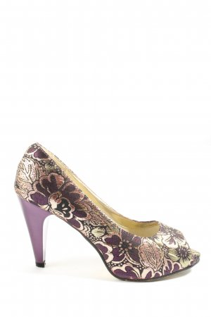 Graceland Peep Toe Pumps lilac-gold-colored allover print casual look