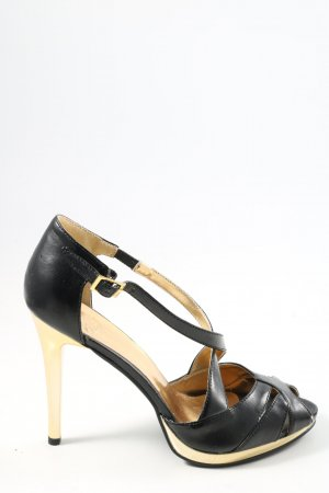 Graceland Peeptoe Pumps schwarz-goldfarben Casual-Look
