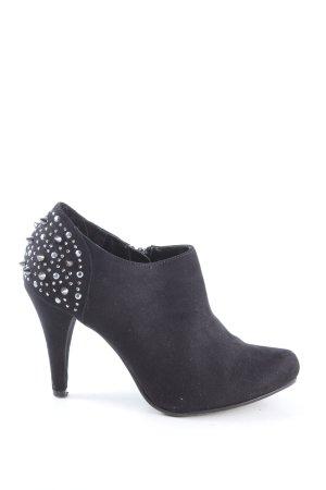 Graceland Reißverschluss-Stiefeletten schwarz-silberfarben extravaganter Stil