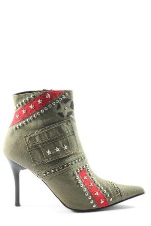Graceland Reißverschluss-Stiefeletten khaki-rot Casual-Look