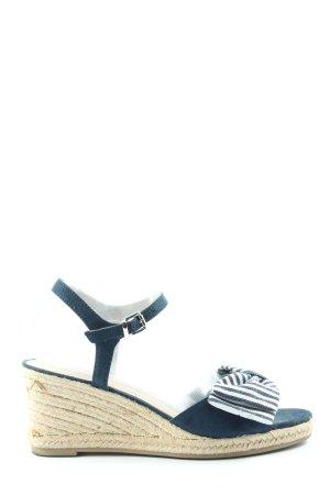 Graceland Riemchen-Sandalen blau-weiß Streifenmuster Casual-Look