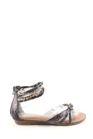 Graceland Riemchen-Sandalen schwarz-nude Animalmuster extravaganter Stil