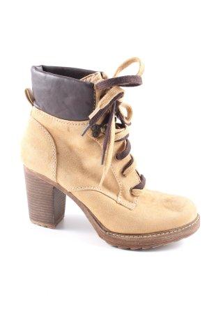 Graceland Schnür-Stiefeletten wollweiß-braun Casual-Look