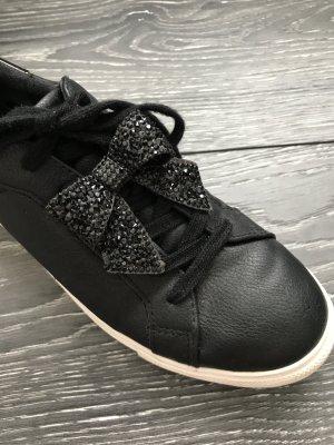 Graceland Sneaker schwarz mit Glitzerschleife 39