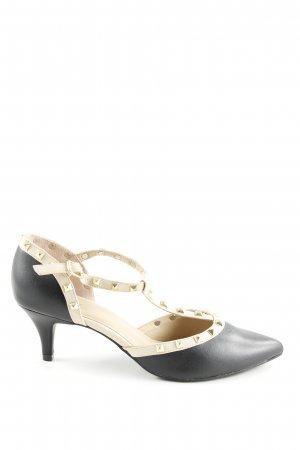 Graceland T-Strap Pumps black-natural white elegant