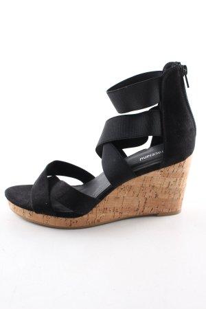 Graceland Wedges Sandaletten schwarz-braun Casual-Look