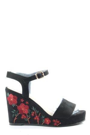 Graceland Wedges Sandaletten schwarz-rot Blumenmuster Casual-Look