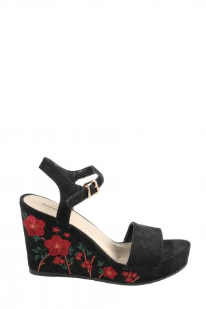 Graceland Wedge Sandals black-red flower pattern party style