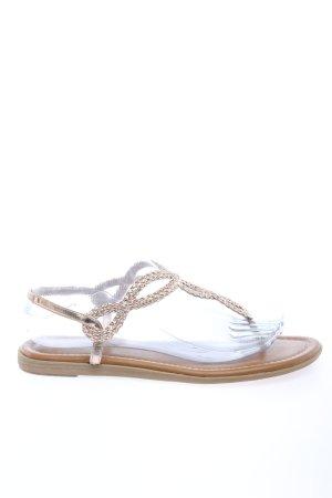 Graceland Zehen-Sandaletten silberfarben Zopfmuster Casual-Look