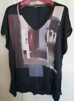 Gracia Bluse T Shirt Tunika Print Druck schwarz bunt kurzarm seidig glänzend L  V Ausschnitt