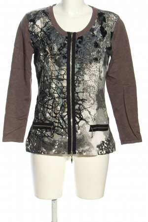 Gracia Shirtjacke braun-hellgrau Motivdruck Casual-Look