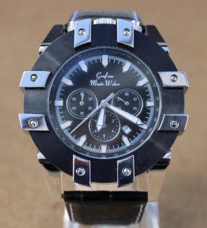 Graf von Monte Wehro Reloj con pulsera de cuero color plata-negro