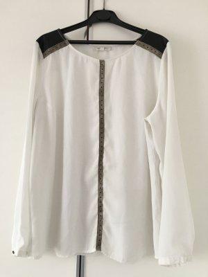 Grain de Malice schicke Bluse Weiß mit Leder und Nieten sehr gut erhalten Gr. 42/44