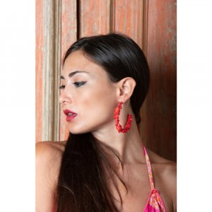 Ear Hoops bright red-salmon