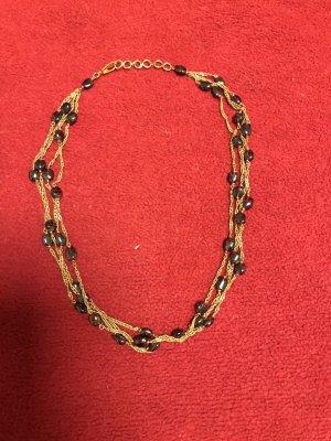 Naszyjnik bordo-złoto
