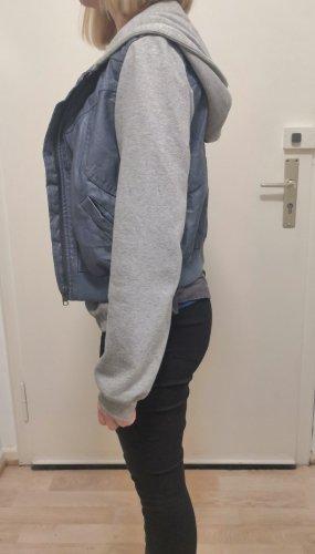 Grau Blaue Sweater Kapuzenjacke