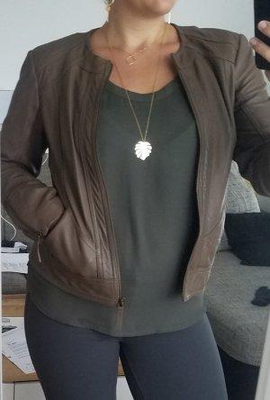Grau-Braune Echt-Lederjacke von Promod (38)