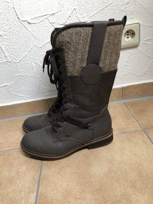 grau / braune Winterstiefel / Stiefel von Rieker / RiekerTEX - Gr. 39