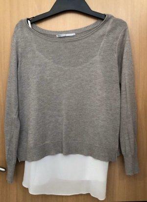 Grau/brauner Pullover mit Untertop Only