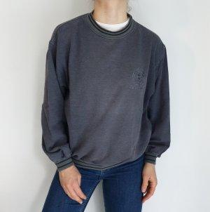 Grau Cardigan Strickjacke Oversize Pullover Hoodie Pulli Sweater Top True Vintage
