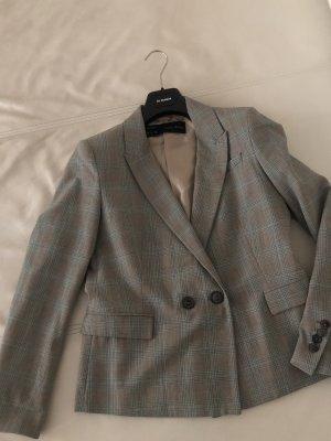 Grau gemusterte Blazer Tailliert Seitentaschen Kurz