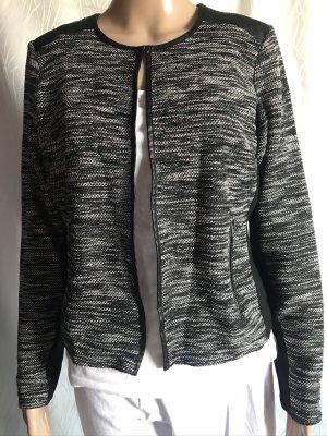 Grau gemusterte Jacke mit Ledereinsatz