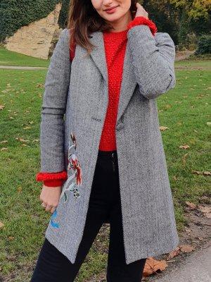 grau Mantel mit Blumenmuster