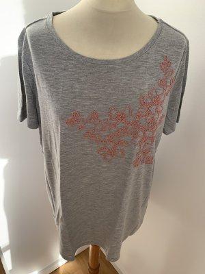 Grau melange T-Shirt mit Blumenstickerei