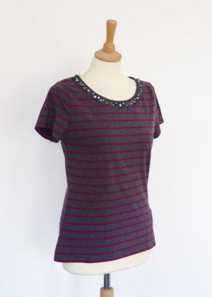 Grau Pink gestreiftes T-Shirt mit Strassstein Kragen Tommy Hilfiger M
