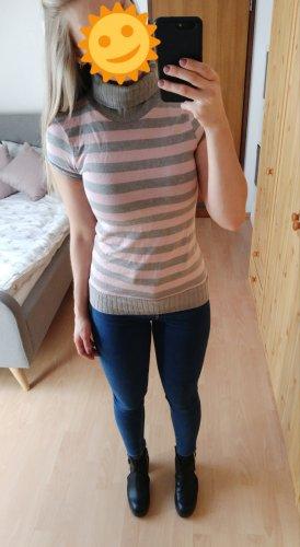 Zara Cárdigan de punto fino gris claro-rosa claro