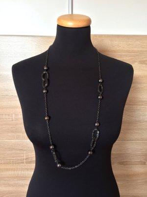 Grau schwarz silber Kette mit Perlen