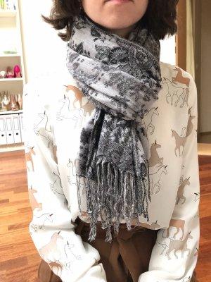 Grau-schwarzer Pashima-Schal, mit Fransen, sehr warm, neuwertig