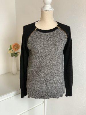 Grau-Schwarzer Pullover Mit Reißverschluss Details